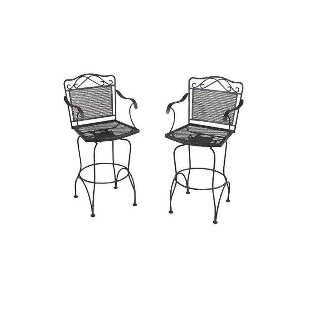 null Wrought Iron Black Swivel Patio Bar Chairs (2-Pack)-DISCONTINUED