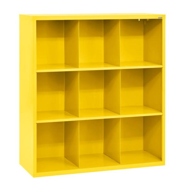 52 in. H x 46 in. W x 18 in. D Yellow Steel 9-Cube Storage Organizer