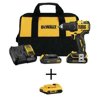 ATOMIC 20-Volt  MAX Brushless Cordless Compact 1/2 in. Drill Driver w/(2) Batteries 1.3Ah, Charger & Bag w/Free Battery