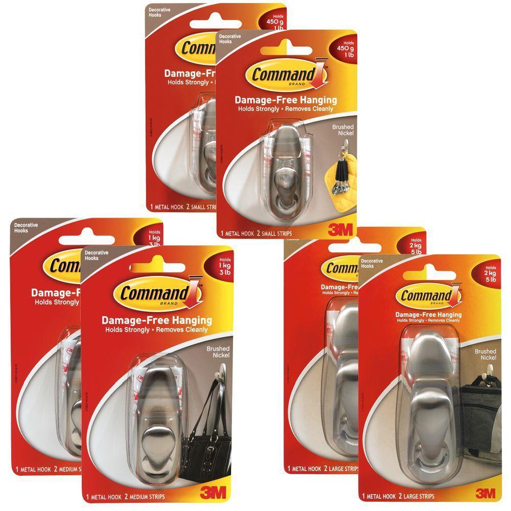 Command Traditional Brushed Nickel Metal Hooks Kit