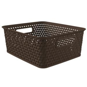 Style 14 in. x 11.16 in. Espresso Plastic Weave Storage Basket