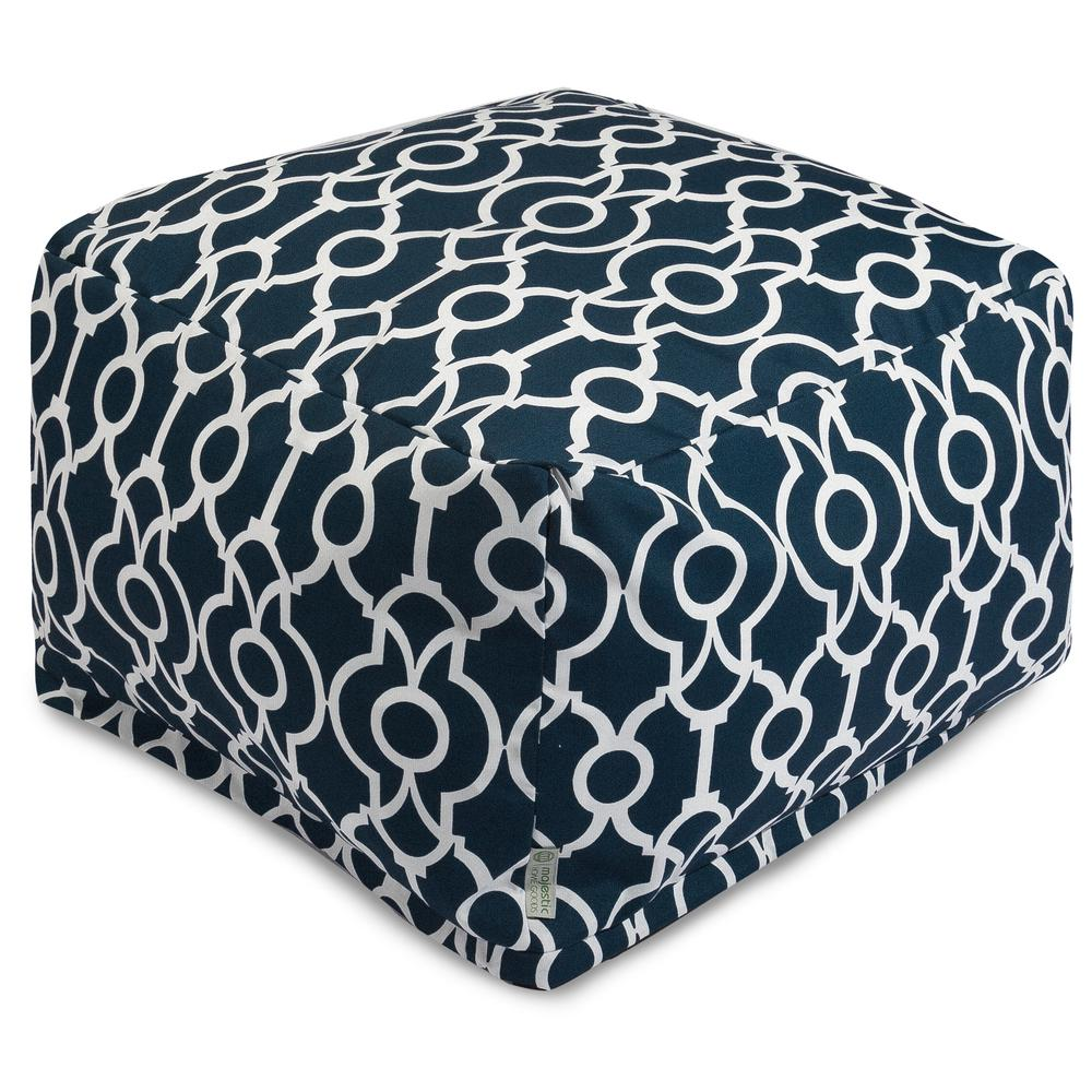 Majestic Home Goods Navy Athens Indoor/Outdoor Ottoman Cushion