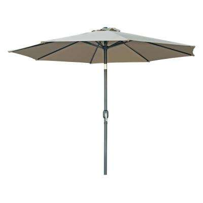 10 ft. Tilt Crank Market Patio Umbrella in Tan