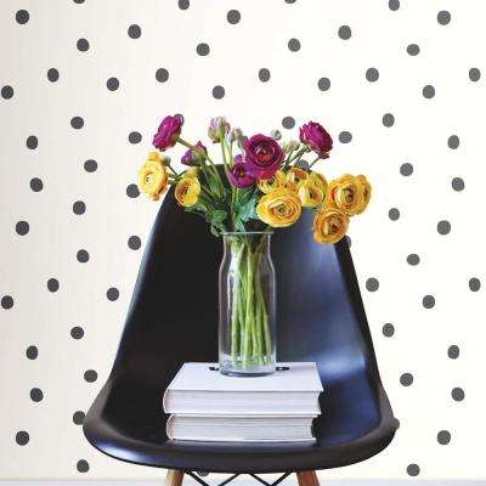 28.18 sq. ft. Black Dots Peel and Stick Wallpaper