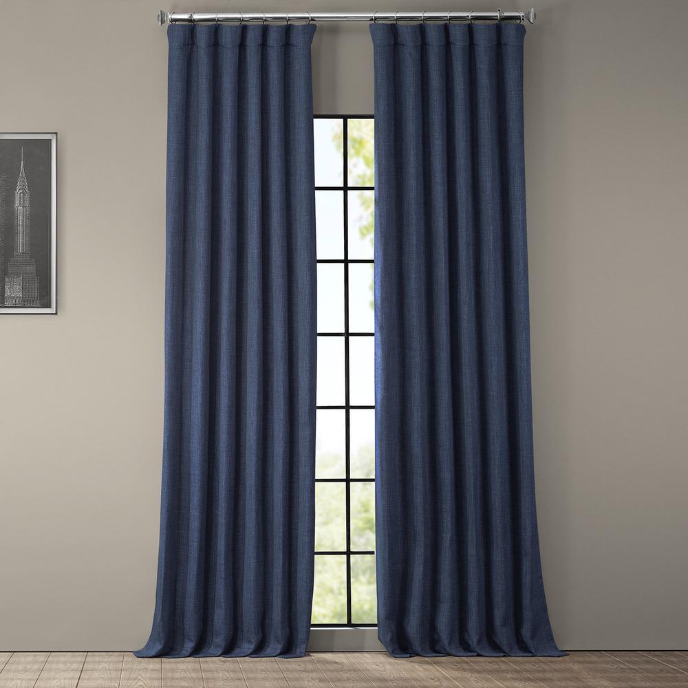 Indigo Blue Faux Linen Blackout Curtain - 50 in. W x 108 in. L