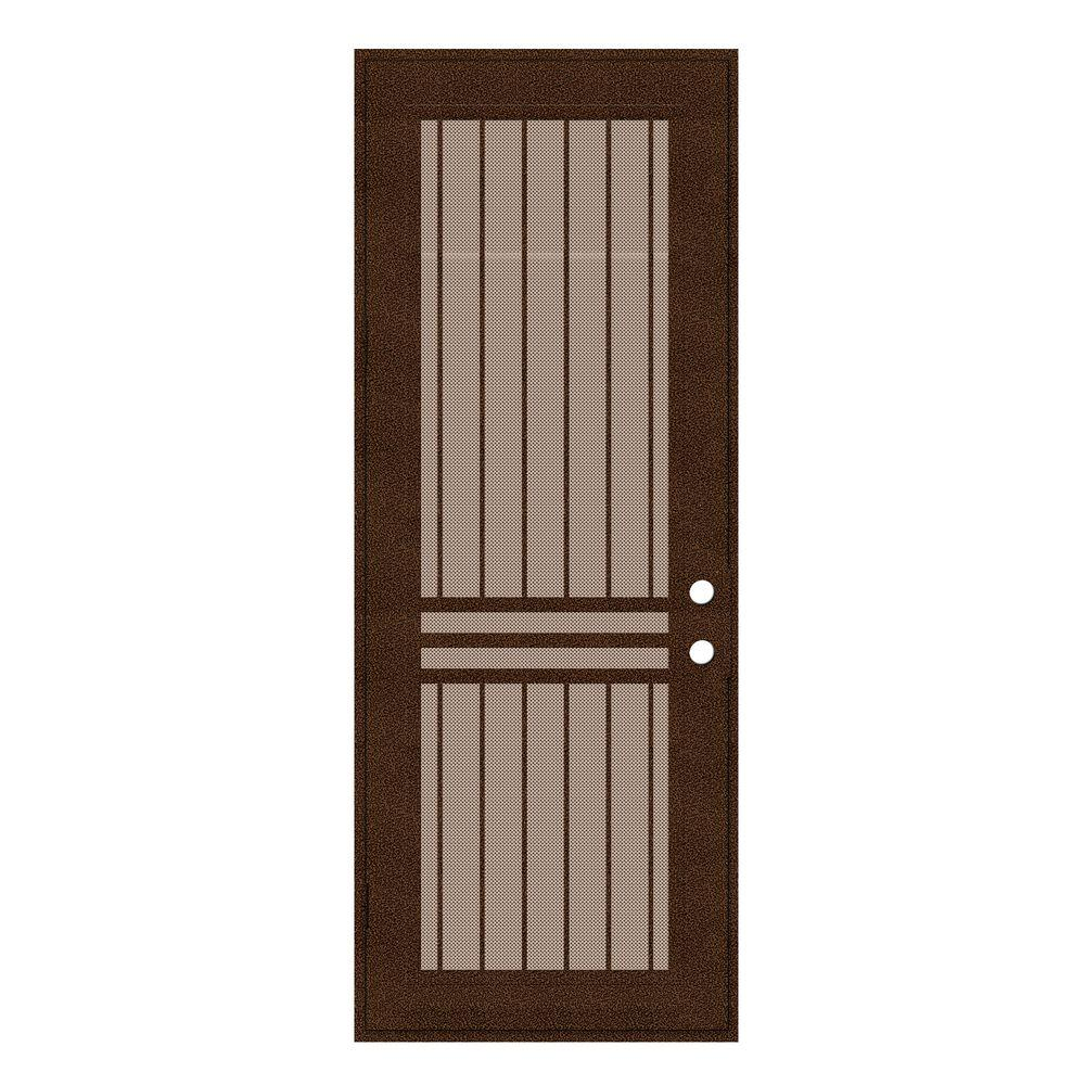Unique Home Designs 36 in. x 96 in. Plain Bar Copperclad Left-Hand Surface Mount Aluminum Security Door with Desert Sand Perforated Screen