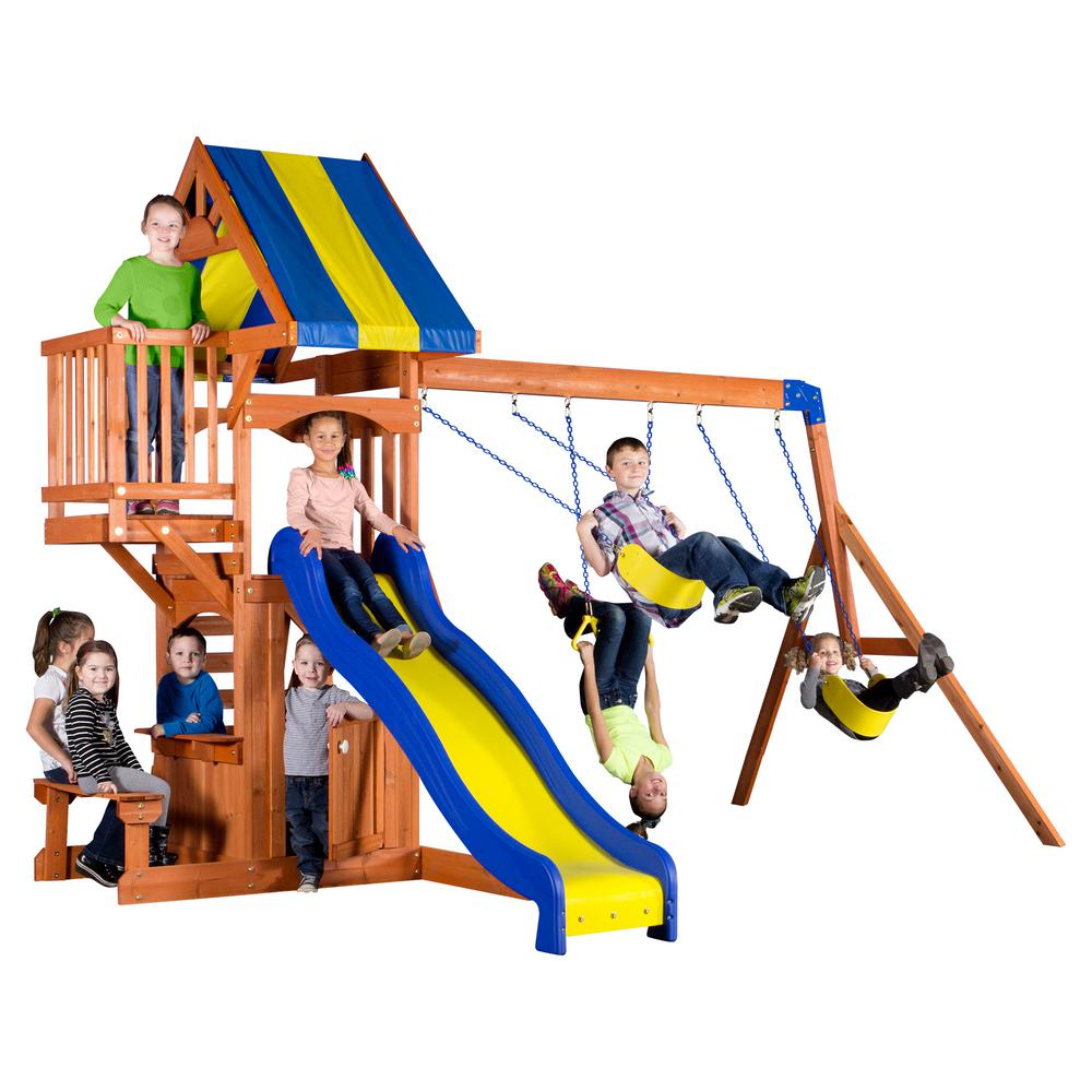 Backyard Discovery Peninsula All Cedar Playset 65415com The Home Depot