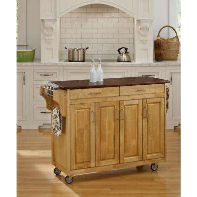 Create-a-Cart Natural Kitchen Cart With Natural Wood Top