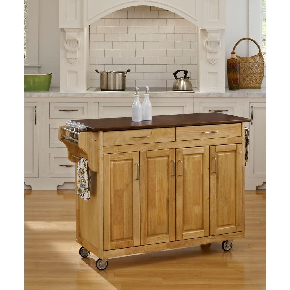 Home Styles Create-a-Cart Natural Kitchen Cart With Natur...