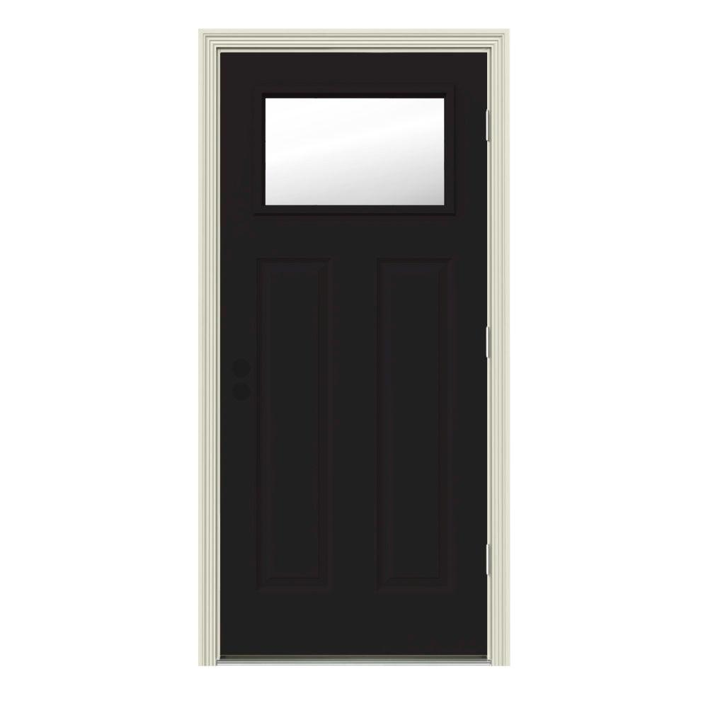 JELD-WEN 32 in. x 80 in. 1 Lite Craftsman Black w/ White Interior Steel Prehung Left-Hand Outswing Front Door w/Brickmould