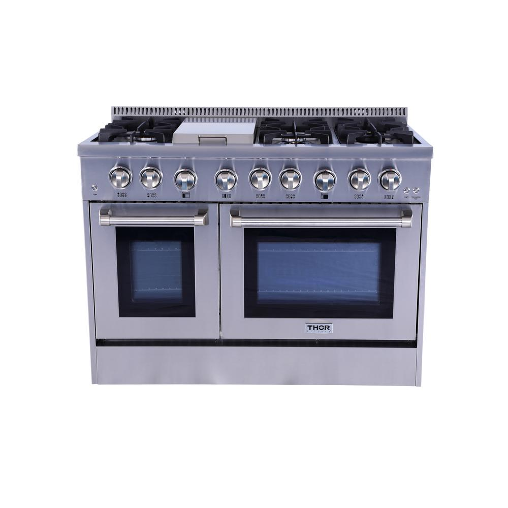 Thor Kitchen 48 in. 6.7 cu. ft. Dual Fuel Range in Stainl...