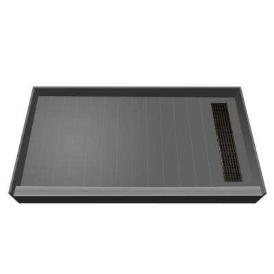 34 in. x 60 in. Single Threshold Shower Base with Right Drain in Gray and Oil Rubbed Bronze Trench Grate