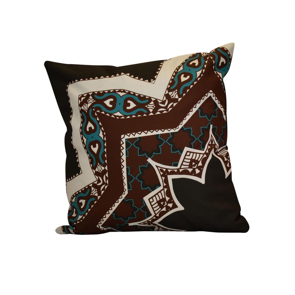 16 in. x 16 in. Rising Star, Geometric Print Pillow, Brown