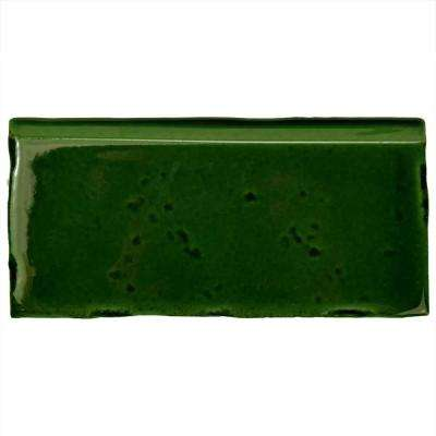 Novecento Zocalo Verdin 2-1/2 in. x 5-1/8 in. Ceramic Wall Trim Tile
