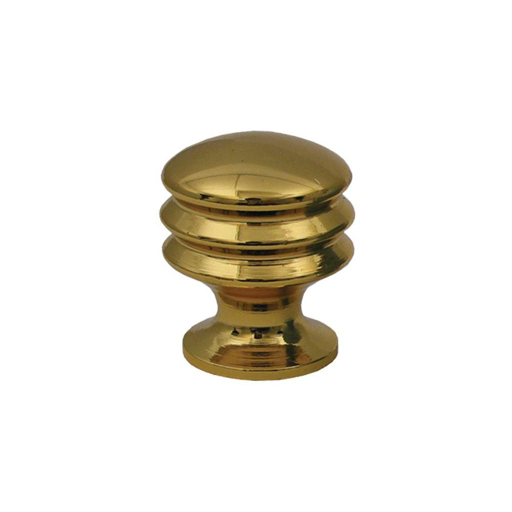 Cabinet Door Knobs Home Depot: Whitehaus Collection 1 In. Polished Gold Solid Brass Round