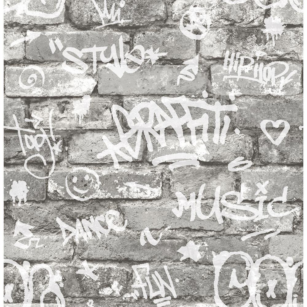 Brewster 56 4 Sq Ft Rodney Grey Tagged Brick Wallpaper Hn002602