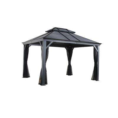 Mykonos II 10 ft. x 12 ft. Aluminum Gazebo in Dark Gray