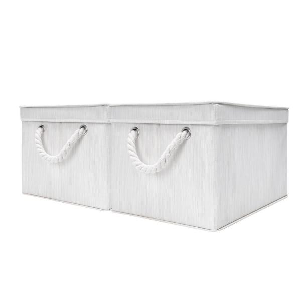 9-Gal. Rectangle Polyester Storage Bin with Lid and Cotton Rope Handles in Ivory (Set of 2)