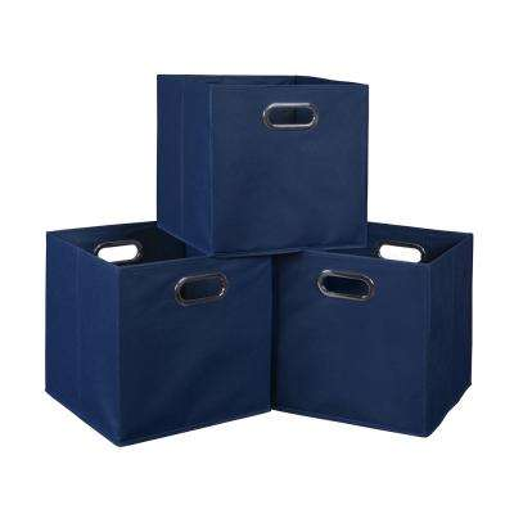 Cubo 12 in. x 12 in. Blue Foldable Fabric Bin (3-Pack)