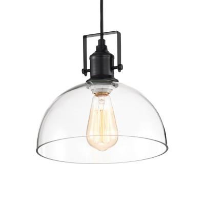 1-Light Black Farmhouse Pendant with Clear Glass Bowl Shade
