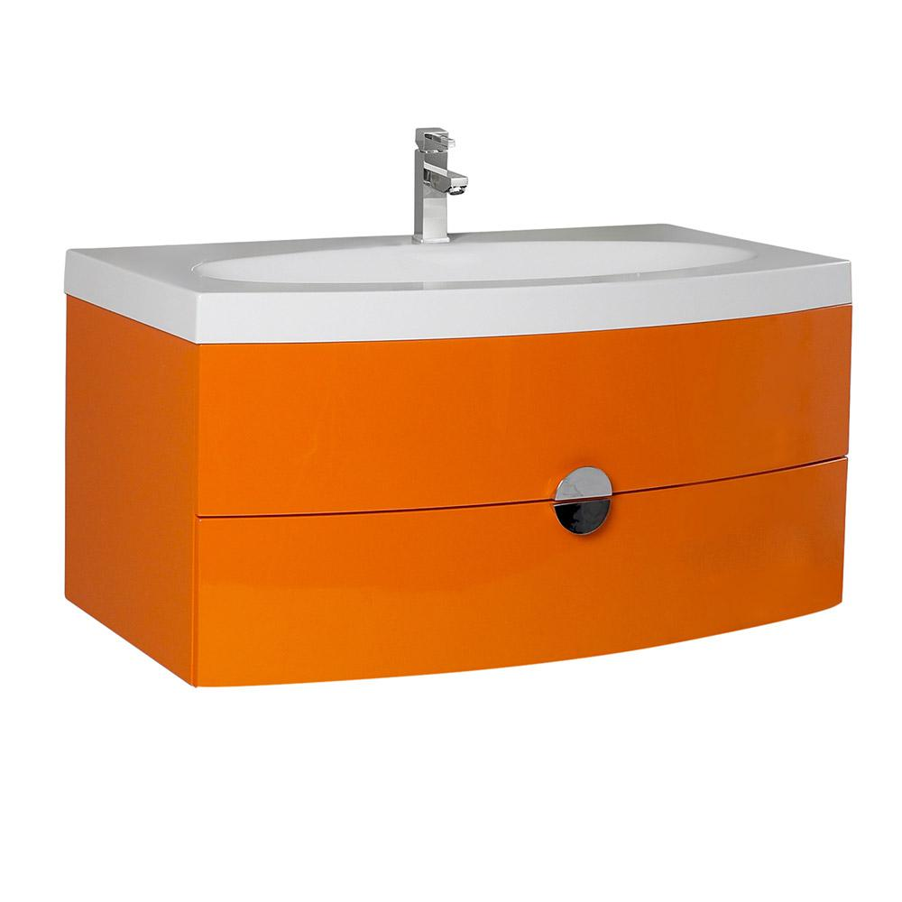 Fresca Energia 36 in. Bath Vanity in Orange with Acrylic Vanity Top in White with White Basin