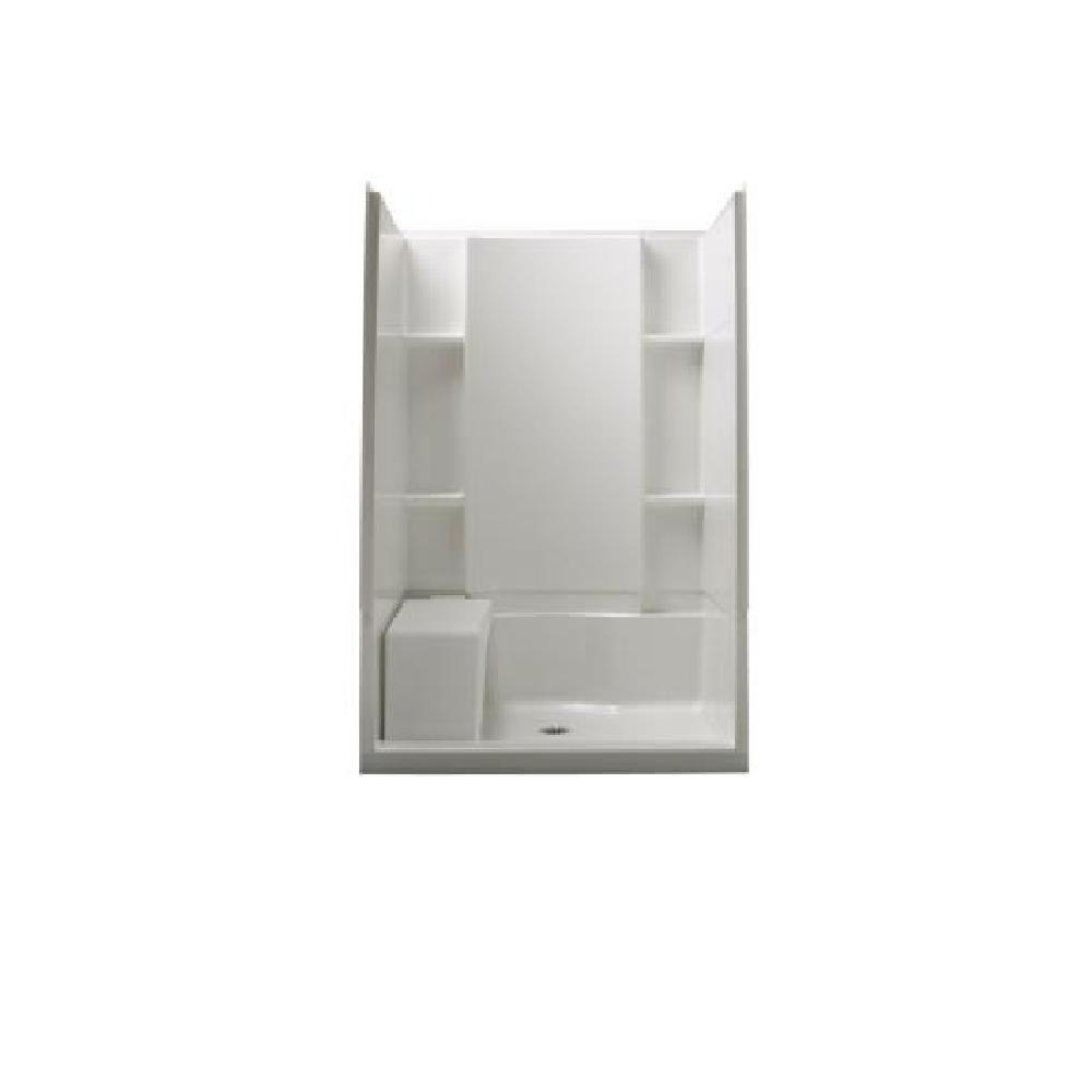 STERLING Accord 36 in. x 48 in. x 74.5 in. Seated Shower Kit with Age-in-Place Backers in White