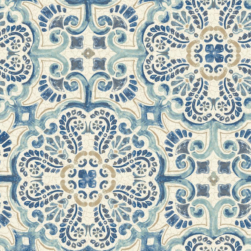NuWallpaper Blue Florentine Tile Peel and Stick Wallpaper Sample NU2235SAM