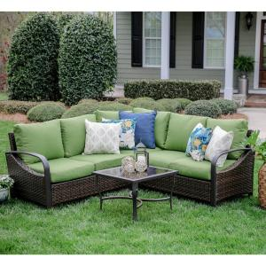 Trenton 4-Piece Wicker Outdoor Sectional Set with Green Cushions by