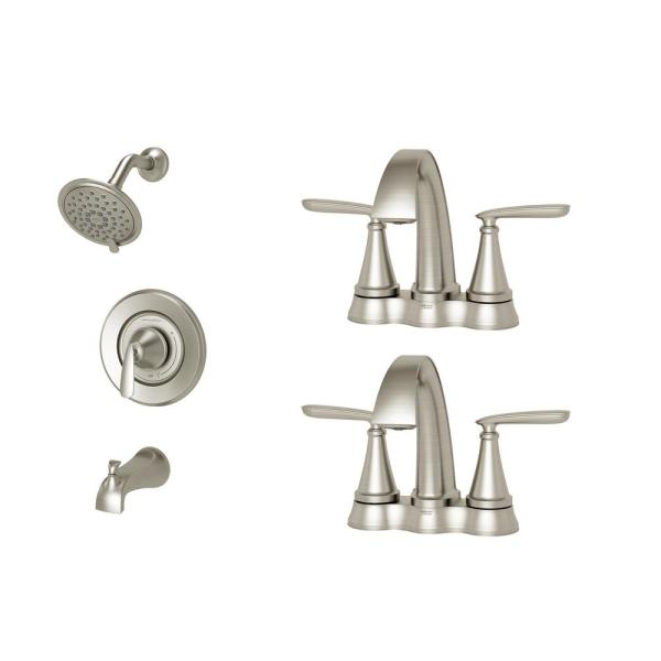 Somerville 4 in. Centerset Bathroom Faucet Set of 2 and Single-Handle 3-Spray Tub and Shower Faucet Set Brushed Nickel