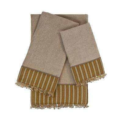 Mulligan Taupe Embellished Towel Set (3-Piece)