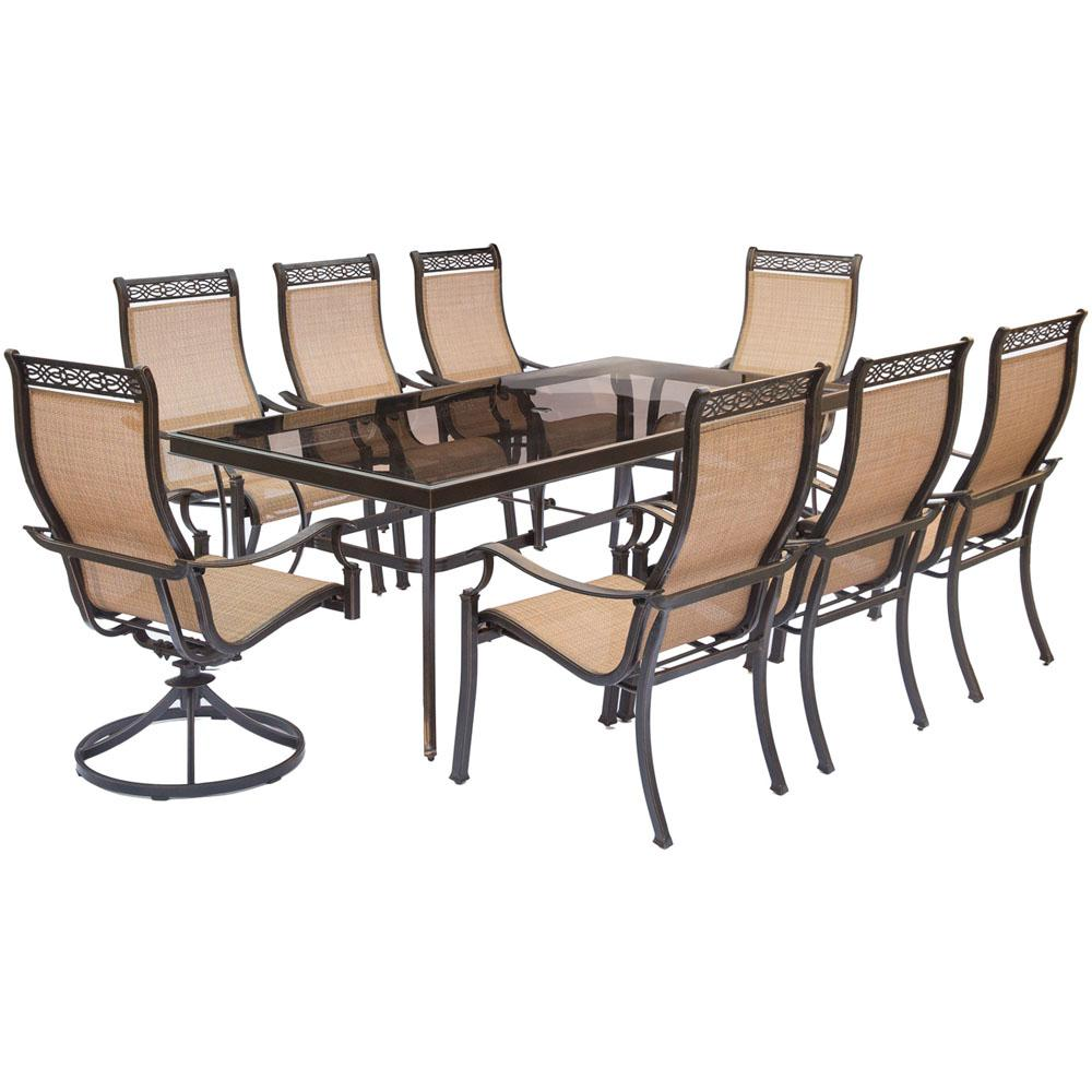 Hanover Monaco 9 Piece Aluminum Outdoor Dining Set With Rectangular Glass  Top Table And