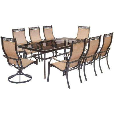 Monaco 9-Piece Aluminum Outdoor Dining Set with Rectangular Glass-Top Table and 2 Swivel Chairs