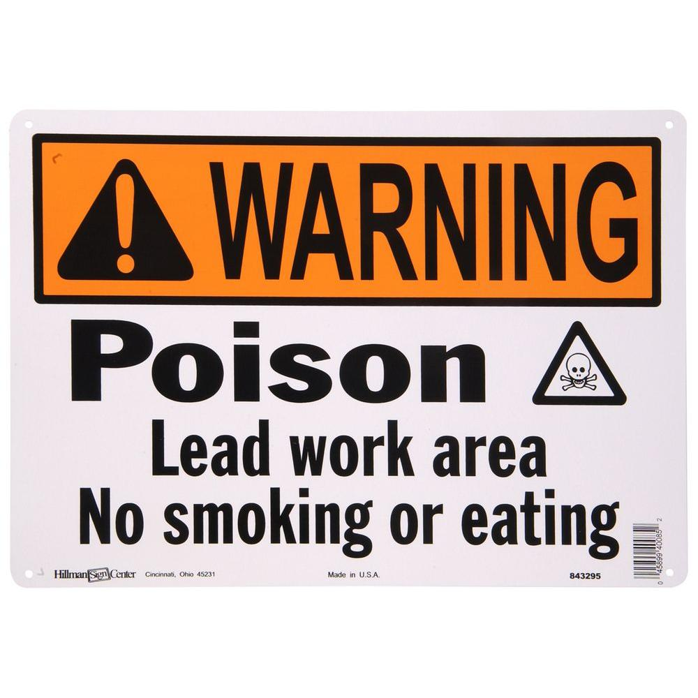 the hillman group 10 in x 14 in aluminum lead poison warning sign