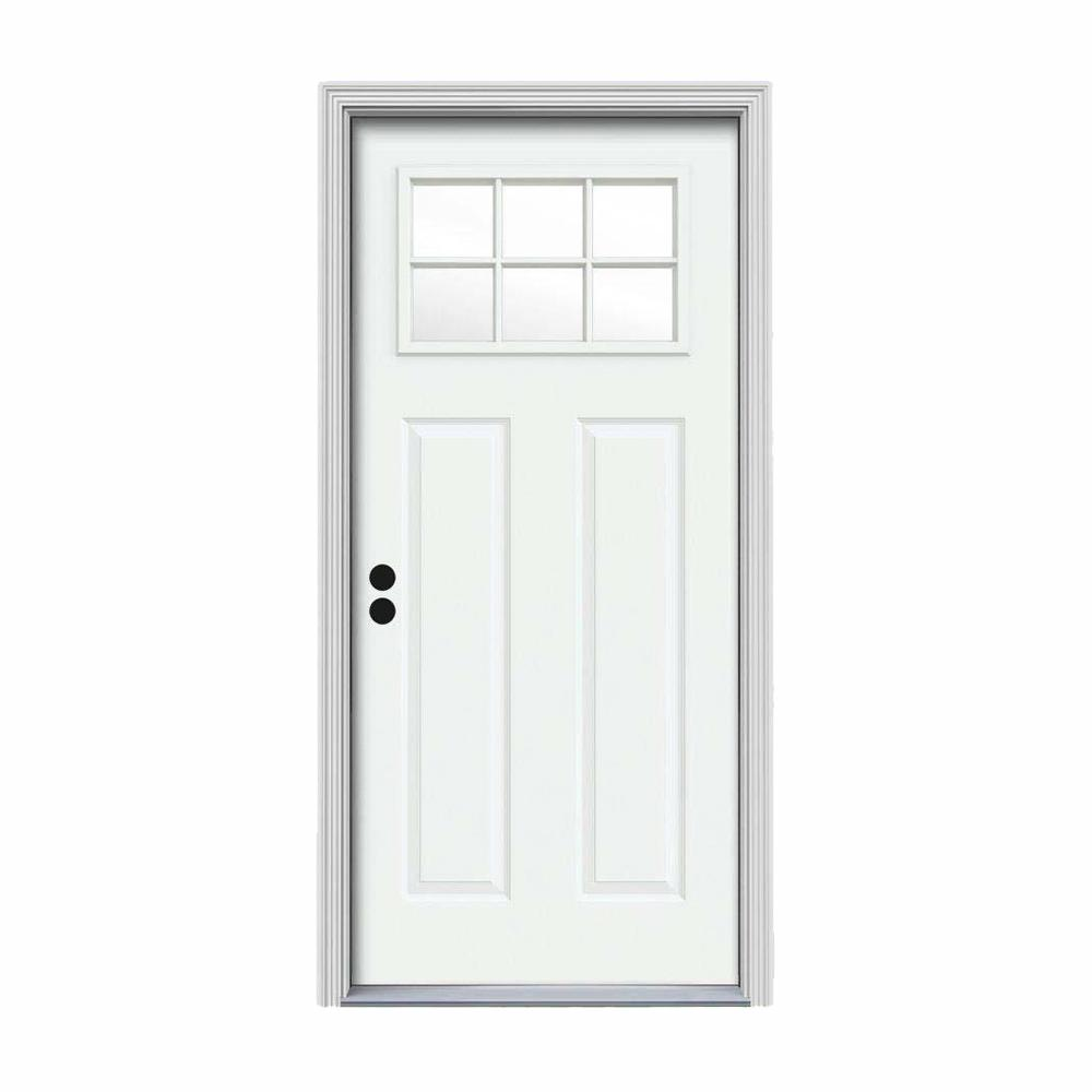 JELD-WEN 34 in. x 80 in. 6 Lite Craftsman White Painted Steel Prehung Right-Hand Inswing Front Door w/Brickmould