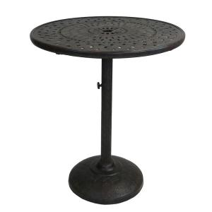 36.25 in. Ornate Brown Round Cast Aluminum Outdoor Patio Bar Table