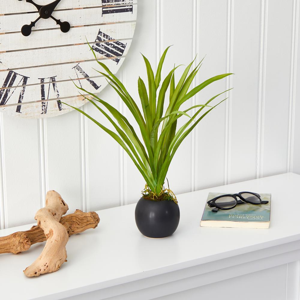 15 in. Grass Artificial Plant in Decorative Planter
