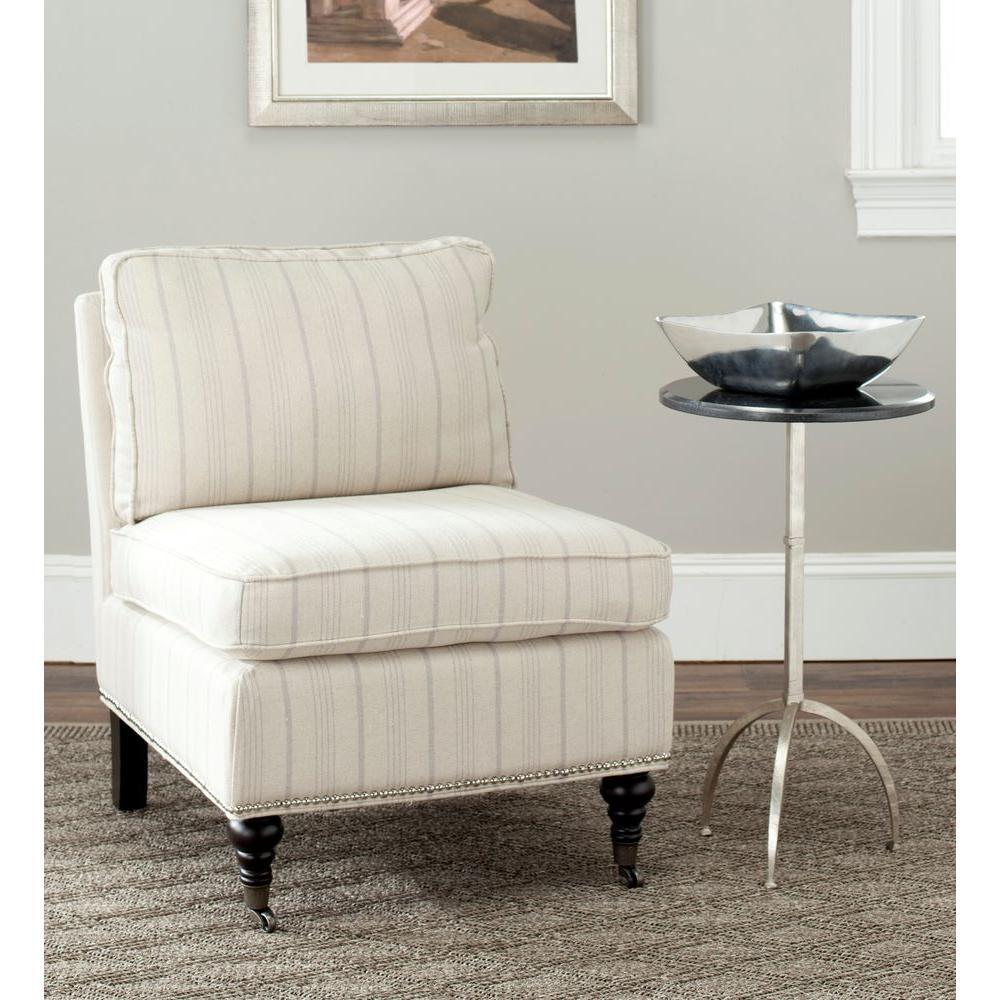 Safavieh Randy Ecru Linen Slipper Chair, Ercu/Brown