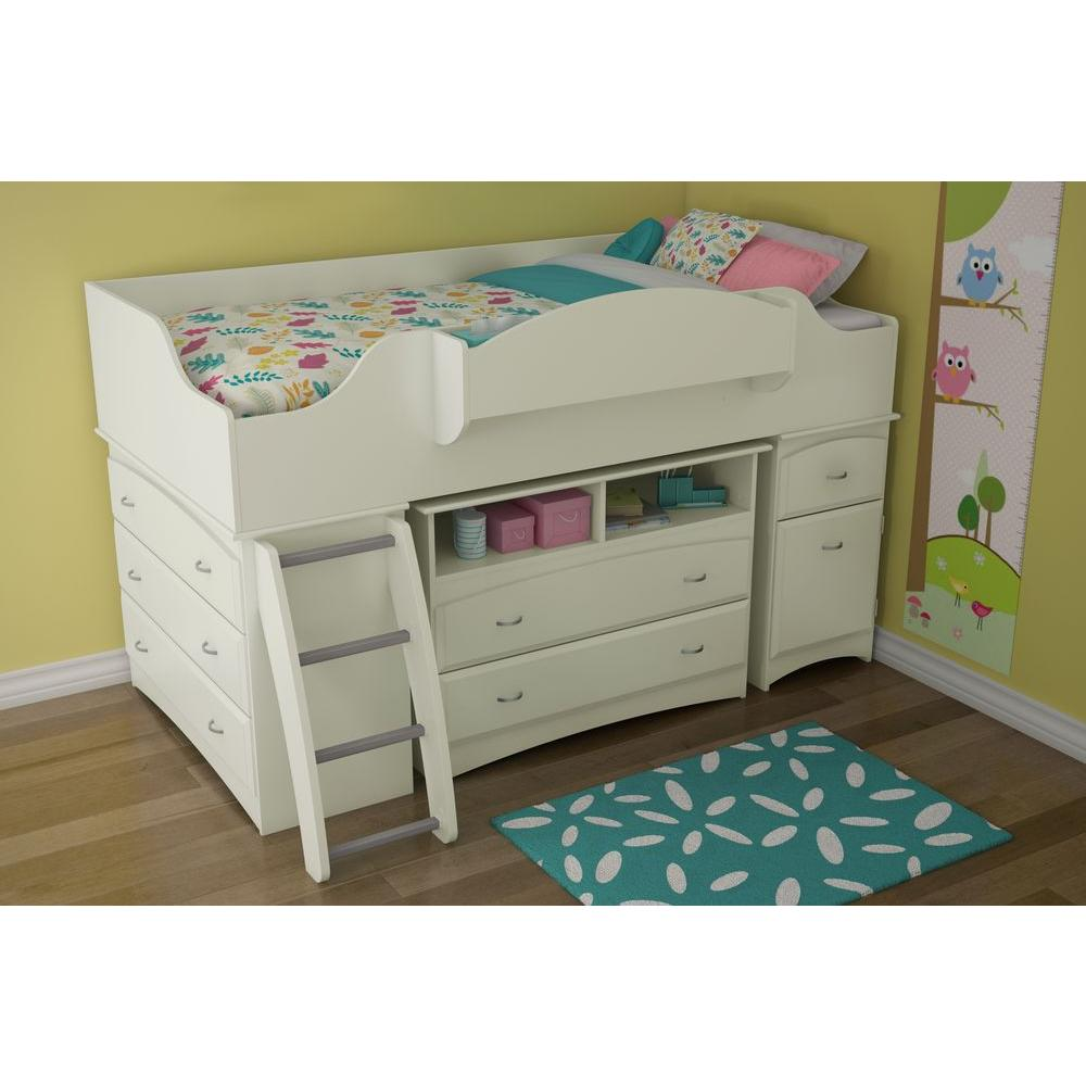 South S Imagine 4 Drawer Pure White Twin Size Loft Bed