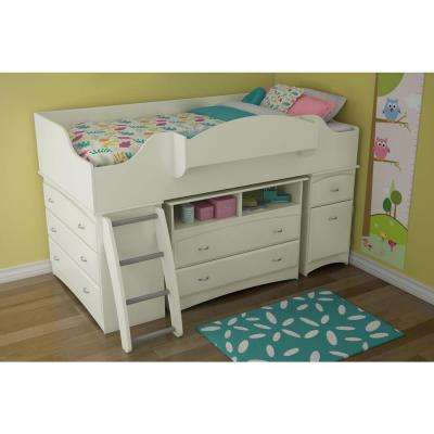 Imagine 4-Drawer Pure White Twin-Size Loft Bed