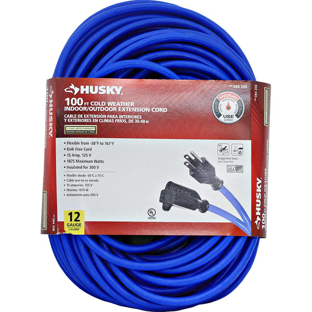 Husky 100 ft. 12/3 (-50°) Cold Weather Extension Cord-748-123100HC4 ...