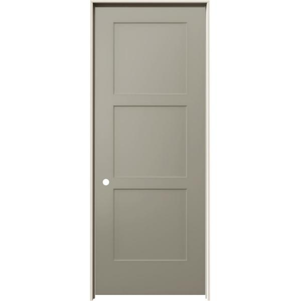 30 in. x 80 in. Birkdale Desert Sand Paint Right-Hand Smooth Solid Core Molded Composite Single Prehung Interior Door