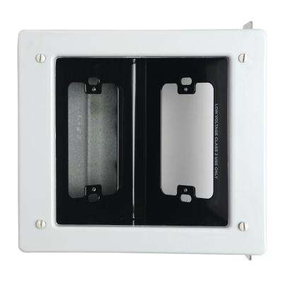 2-Gang Metal Commercial Recessed TV Media Box, White