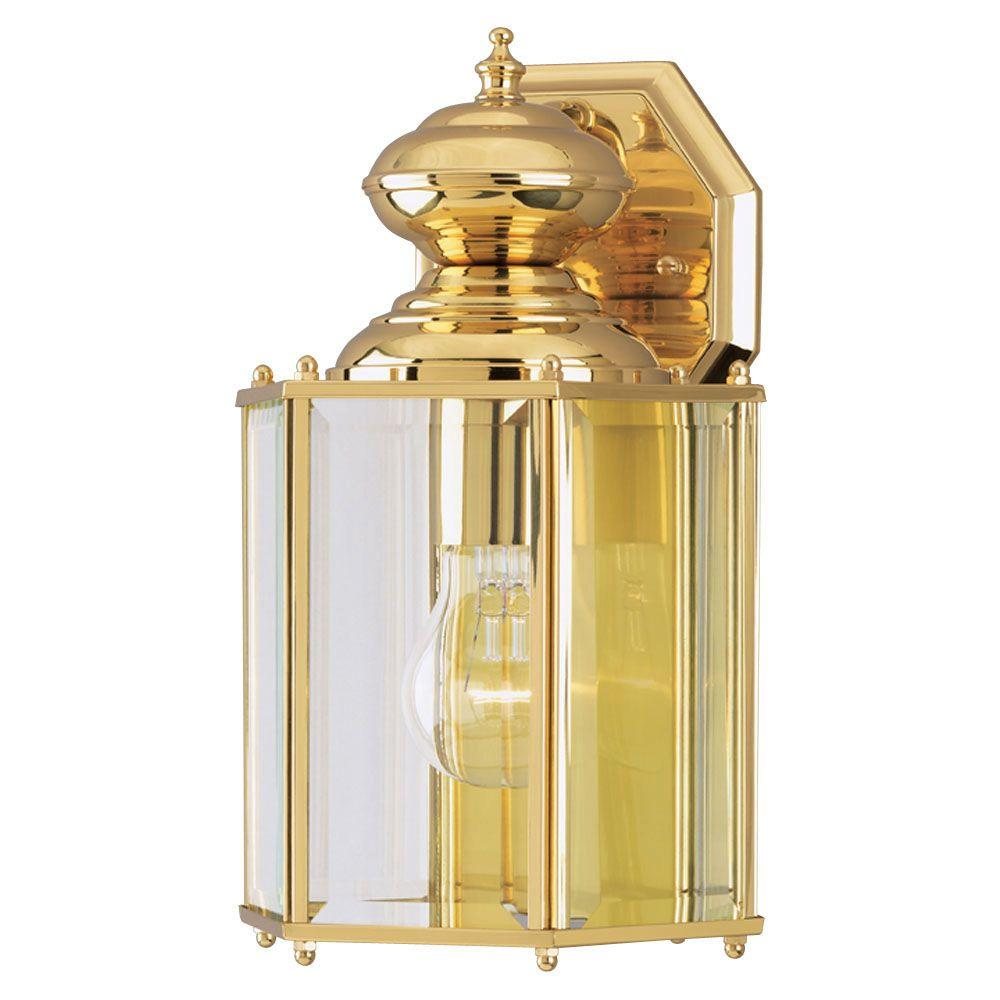 1-Light Polished Brass on Solid Brass Steel Exterior Wall Lantern with