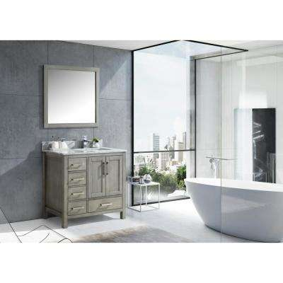 Jacques 36 in. Distressed Grey Single Vanity Top White Carrera Marble White Square Sink and 34 in. Mirror Left