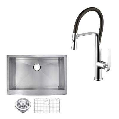 All-in-One Apron Front Stainless Steel 30 in. Single Bowl Kitchen Sink with Faucet in Chrome Sink Kit