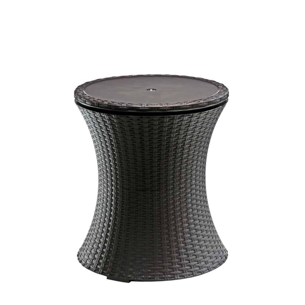 Resin Rattan Drink Cooler Patio Table - Keter Cool Bar 7.5 Gal. Resin Rattan Drink Cooler Patio Table-218305