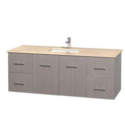 Centra 60 in. Vanity in Gray Oak with Marble Vanity Top in Ivory and Undermount Sink