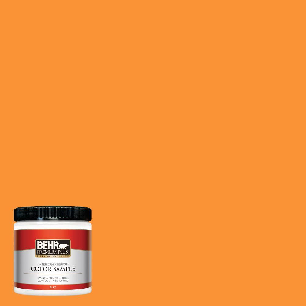 BEHR Premium Plus 8 oz. #P240-7 Joyful Orange Flat Zero VOC Interior/Exterior Paint and Primer in One Sample