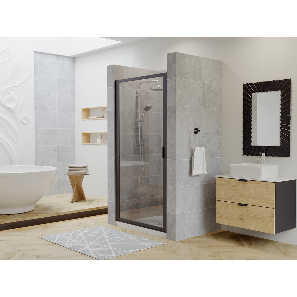 Coastal Shower Doors Paragon 30 In To 30 75 In X 70 In Framed Continuous Hinged Shower Door In Matte Black With Clear Glass P30 70o C The Home Depot