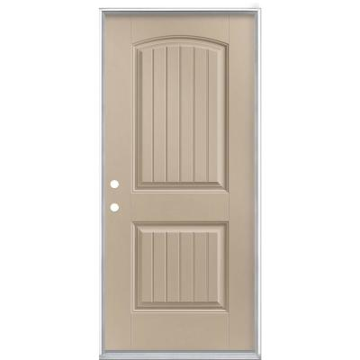 36 in. x 80 in. Cheyenne 2-Panel Right-Hand Inswing Painted Smooth Fiberglass Prehung Front Exterior Door No Brickmold